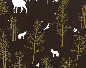 Brambleberry Ridge Timber Valley Bark METALLIC by Michael Miller- Brown Deer - Quilting Cotton Fabric - by the yard fat quarter half