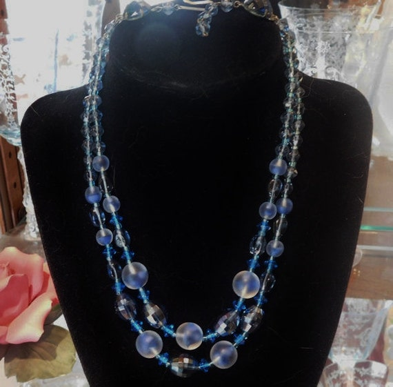 Vintage W GERMANY Glass Crystal Necklace Choker 1950s 50s Mid Century  Double Strand Necklace Givre Cobalt Blue AB Aurora Borealis Bride