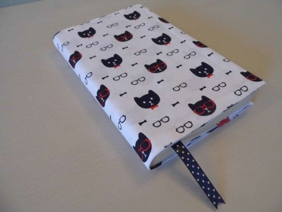 Fabric Book Covers Etsy : Cool cat handmade fabric book cover
