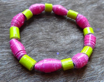 Girls/Women's Pink and Green Paper Bead Bracelet- Handmade Beaded Bracelet, Bracelet, Paper Beads, Paper, Pink, Green, DominiquesWares