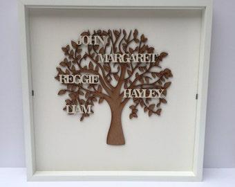Bespoke Framed Handpainted Wooden Family Tree