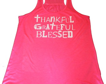 Ladies Racerback Tank-Thankful Grateful Blessed-Tank Top- Activewear-Gym Tank- Womens Top