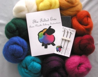 10 Color Needle Felting Wool Roving Kit