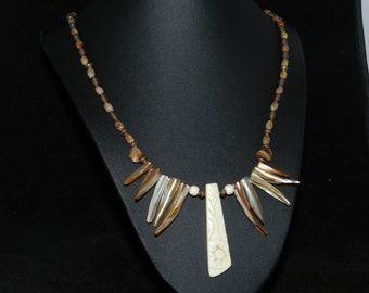 Natural Bone and Shell Necklace