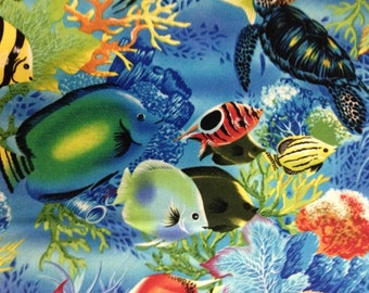 Bright Colored Fish on Blue Background, Tropical Fish by Michael Miller Fabrics, 100% Cotton