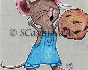 If You Give A Mouse A Cookie Cartoon Print of original colored pencil drawing