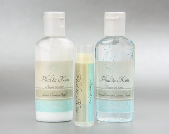 Personalized. Elegance. Hand sanitizer, lotion, and lip balm set
