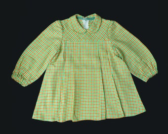 70's Houndstooth Peter Pan Collar Pleated Mini Dress French Stock 3-4 Years