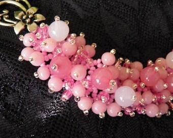 """Bracelet """"Sakura"""". Elegant bracelet. Beaded bracelet. Seed beads bracelet. Handmade bracelet. Gift for her."""