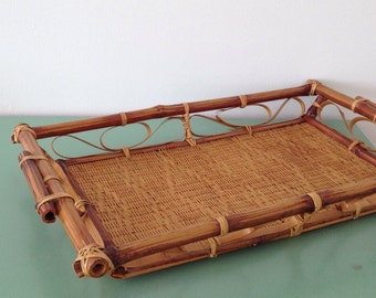 Bamboo and wicker tray