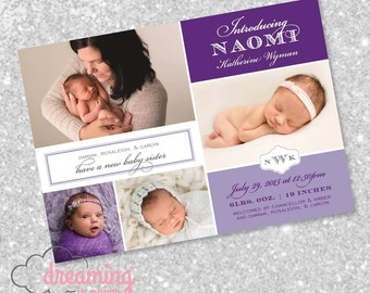 Delicate and Pretty Purple Birth Announcement with Monogram