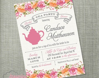 Tea Party Bridal or Baby Shower, or Birthday Invitation