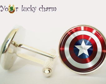 Captain America Cufflinks, Captain America Cuff Link, gift for men, wedding, groom, husband gift