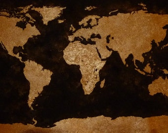 "World map, painting, quadro mappa mondo 20.4"" (52 cm) x 12.6"" (32 cm)"