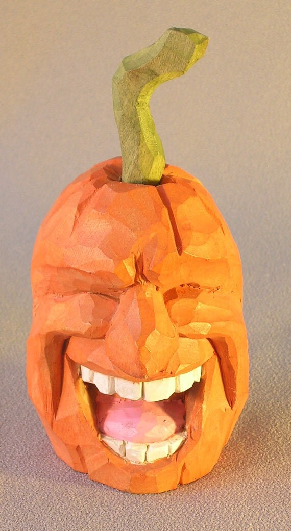 Laughing jack o lantern hand carved by russell