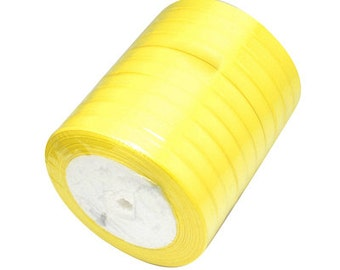 Yellow Satin Ribbon 6mm | 5 Rolls - 25 Yards per Roll | Ribbon Reel | 283-Rib
