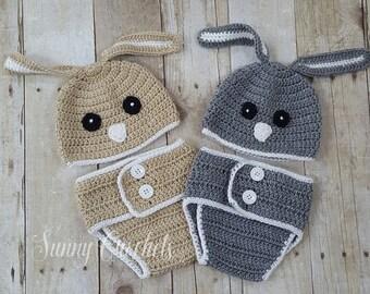 Bunny Crochet Hat Diaper Set, Rabbit Hat, Newborn Photo Prop, Baby Shower Gift, Baby Hat, Bunny Hat, Crochet Hat, Halloween Costume, Hat,
