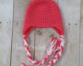 Pink Crochet Hat with Ear Flaps and Braids, Newborn Photo Prop, Baby Shower Gift, Pink Hat, Girls Hat, Adult Hat, Crochet Hat