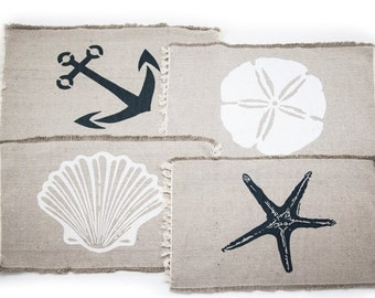"Set of 4 Beach Themed Nautical Table Placemats (13""x19"")-Seashell, Sand Dollar, Starfish, Anchor"