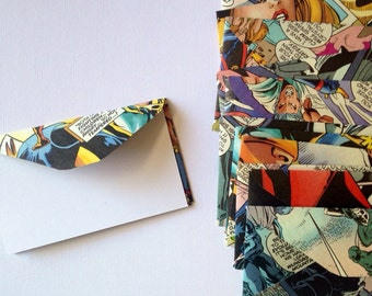SALE Comic Book Envelopes, Mini Envelopes, Comic Book Stationery, Business Card Envelopes, Comic Book Ephemera, Comic Book Gift Cards,