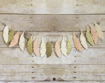 Feather Garland // Peach, Gold, Cream, Felt Ball