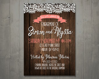 Rustic Vintage CUSTOM Engagement Party Invitation DIGITAL DOWNLOAD