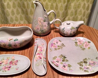 6 Hand Painted Russel Wright Grey Serving Pieces 1939-1959