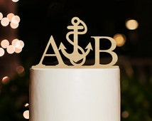 Nautical Cake Topper,Wedding Cake Topper,Custom Couple Initial Cake Topper,Personalized Monogram Cake Topper,Beach Wedding Cake Topper