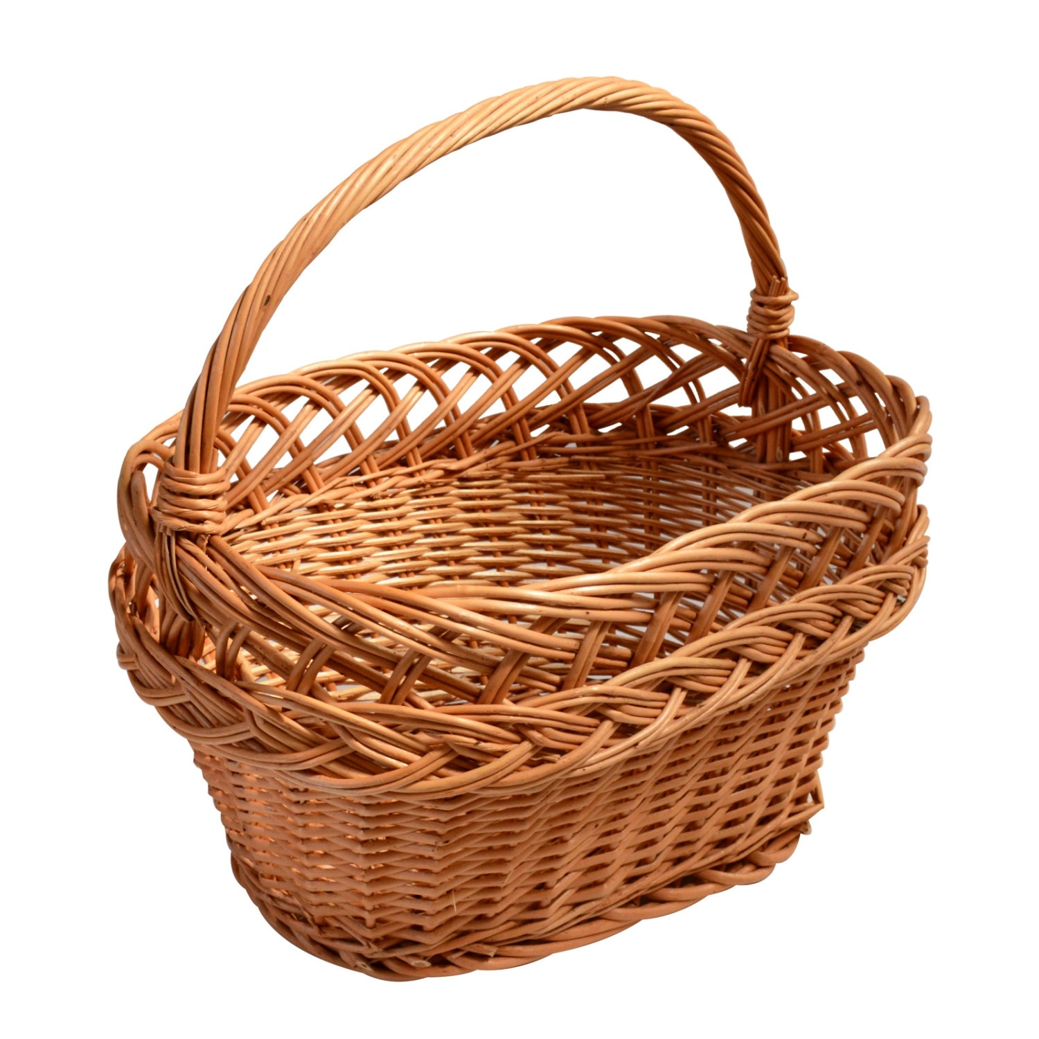 Woven Storage Baskets With Handles : Wicker basket with handle traditional storage by handmadegroup