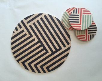 LINES giant coaster, wood trivet, plant plate, black and white centerpiece, geometric tray, stripes, memphis, Art Deco, large coaster