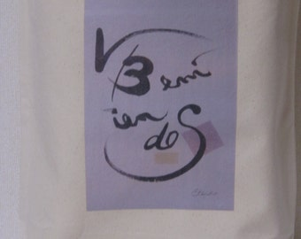 Original goods printed with the design by writing brush