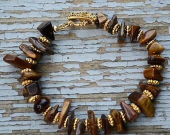 Tigereye bracelet, Tigereye stone chips, Tigereye jewelry, Tigereye gift, Bracelet tigereye, Buy one get one free, Free ring.