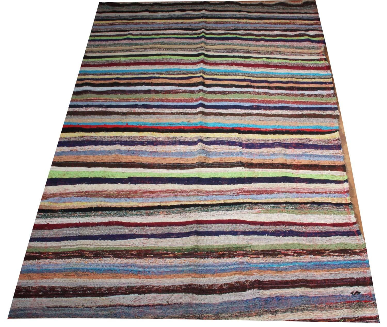 Striped area rug kilim rug red blue navy white by for Red and white striped area rug