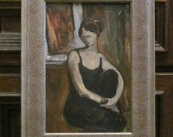 Oil Painting. Seated woman. Vintage