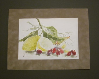 Still life. Watercolor. Passepartout. Artist Vyalichkin. Signed