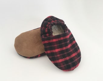 Soft Sole Baby Shoes || The Lumberjack Slipper || Baby Slippers || Crib Shoe