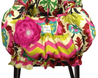 Santa Maria Desert Flower and Panama Wave Shopping Cart Cover/Restaurant High Chair Cover, Park Swing Cover