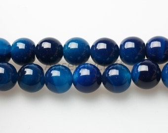 B156 Natural Dark Blue Agate Beads Supplies, Full Strand 4 6 8 10 12 14mm Round Blue Agate Gemstone Beads for DIY Jewelry Making