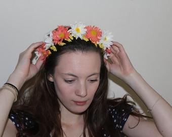 peach and white flower crown
