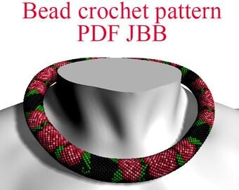 Rose pattern Bead crochet pattern PDF JBB tutorial Crochet rope scheme Floral pattern Rose flower pattern Bracelet pattern Jewelry pattern