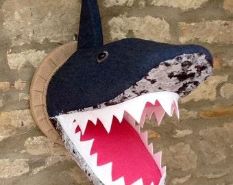 Handmade faux taxidermy funky denim velvet shark head wall mounted animal head trophy