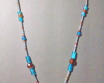 Turquoise blue and brown lanyard, ID Badge