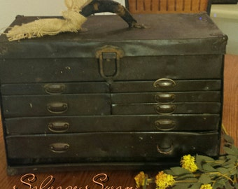 Vintage Tool Chest, Industrial Storage, Antique Tool Chest, Steampunk Decor, 7 Drawer Machinist Chest, Rustic Metal Tool Box,