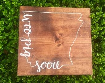 Woo Pig Sooie Arkansas Razorbacks Wooden Sign
