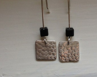 Sterling / Fine Silver Dangle Earrings, Textured Silver Squares, Black Bead