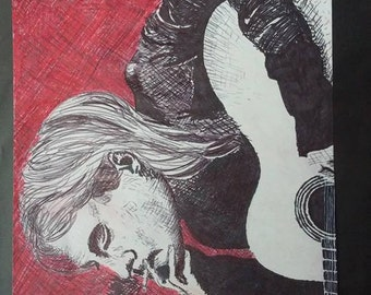 Original artwork, mark making ink, Kurt Cobain portrait