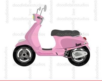 Vespa Clipart, Vespa Scooter Clip Art, Pink Vespa Clipart, Pink Vespa Clip Art, Pink Scooter Clipart, Scooter Clipart, Motorcycle Clipart