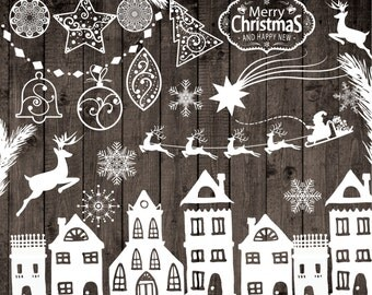 "Chalkboard Christmas Clipart: ""CHRISTMAS CLIP ART"" Snowflake clipart Christmas deer Merry Christmas clipart new year clipart christmas tree"