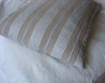 Linen pillowcase striped linen pillow case  by LUXOTEKS