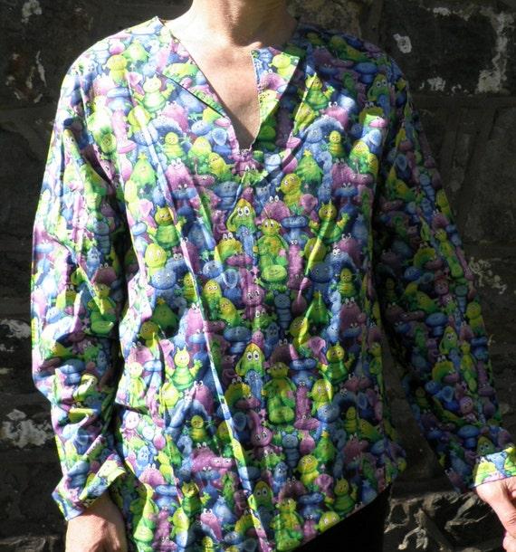 Cotton Kurta Shirt in Friendly Alien Print Size L Hand Made Boho Space MJJx65Tbdp